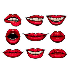 flat set of female lips with bright red vector image