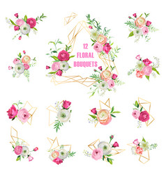 Floral bouquets set for holidays decoration vector