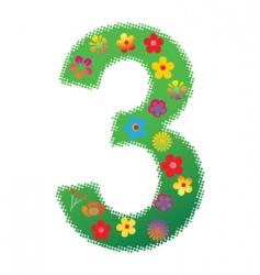 floral number 3 vector image