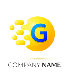 G letter splash yellow dots and circle bubble vector