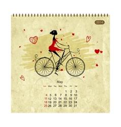 Girls retro calendar 2014 for your design may vector