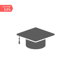 Graduation hat icon isolated on white vector