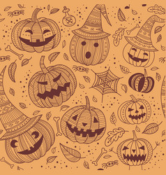 Halloween seamless pattern with cute pumpkins vector