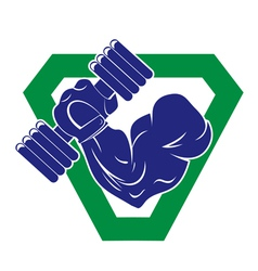 Hand bodybuilder with a large dumbbells vector