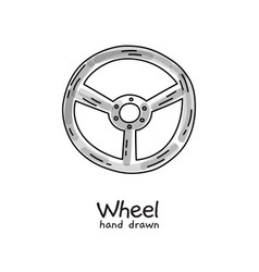 hand drawn steering wheel on white vector image