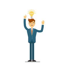 Happy businessman idea generation for startup vector
