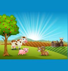 Happy farm animals in the morning vector