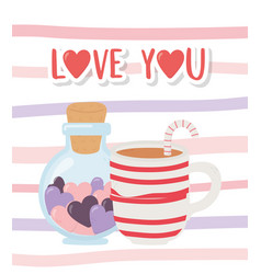Happy valentines day cup chocolate and bottle vector