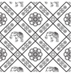 henna tattoo seamless pattern with elephants and vector image