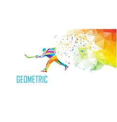 hockey player silhouette polygonal vector image