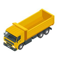 Isometric a dump truck dumper tipper truck vector