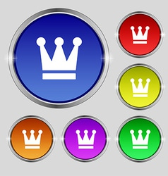 King Crown icon sign Round symbol on bright vector image