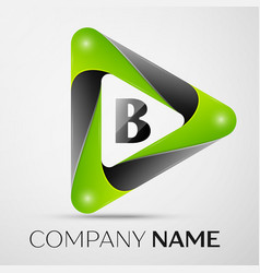 Letter b logo symbol in the colorful triangle on vector