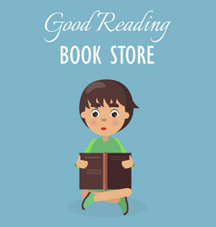 Little boy in good reading book store on blue vector
