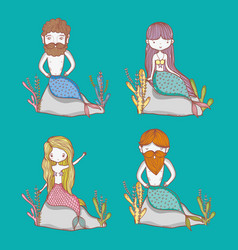 little mermaids cute cartoons vector image