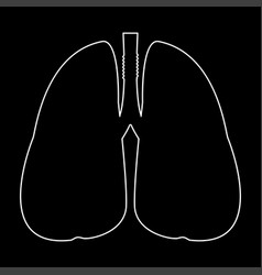Lungs white path icon vector