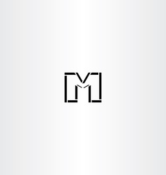 m letter icon black symbol logotype vector image