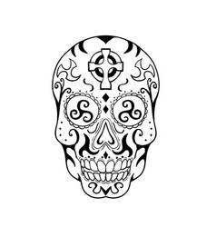 mexican skull triskele celtic cross tattoo vector image