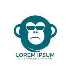 Monkey with glasses mascot cartoon sign vector