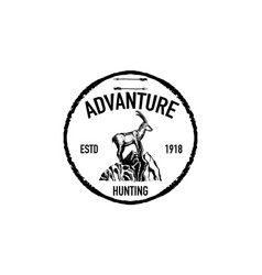 Mountain goat retro logo vector