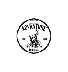 Mountain goat retro logo vector
