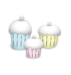 multi-colored painted cupcakes to cream-colored vector image