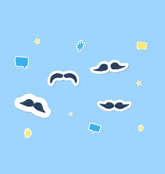 mustaches stickers set vector image