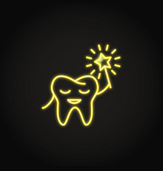 Neon smiling tooth icon in line style vector