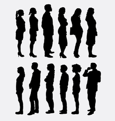 People standing queue silhouettes vector