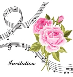 Pink roses with music notes vector