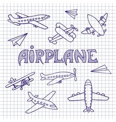 Planes on a notebook sheet vector image