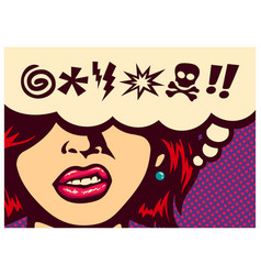 pop art angry woman with swear words vector image
