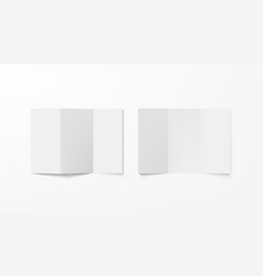 realistic blank white tri-folded booklets mock up vector image