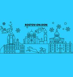 Russia rostov-on-don winter holidays skyline vector