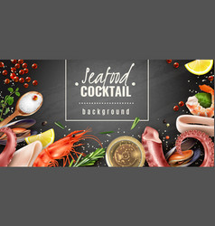 seafood cocktail background poster vector image