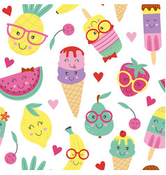 seamless pattern with cute ice cream and fruits vector image