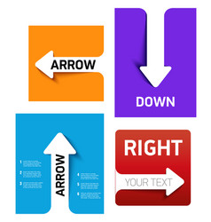 set banners with white paper arrow on color vector image