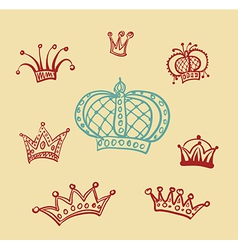 Set of Crown sketches vector