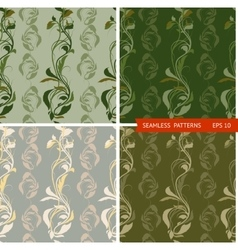 set patterns with branches and leaves vector image