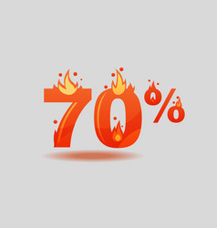 Seventy percent discount numbers on fire vector