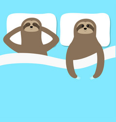 Sloth family love couple sleeping slow down cant vector