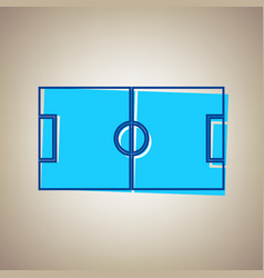 soccer field sky blue icon with defected vector image