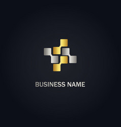 square connect digital technology gold logo vector image