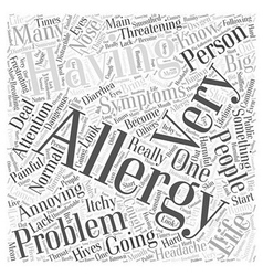 Symptoms of Having Allergies Word Cloud Concept vector