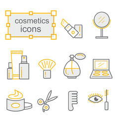 thin lines icon set cosmetics vector image
