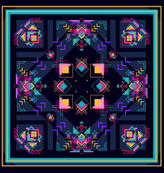 Tribal square boho ornament for boys and vector