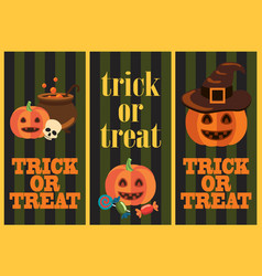 Trick or treat vertical images vector
