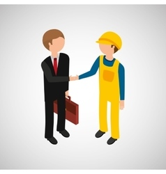 Under construction worker with businessman vector