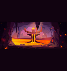 Underground cave entrance to hell infernal world vector
