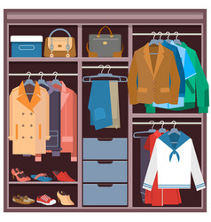 Wardrobe with clothes and accessories flat vector